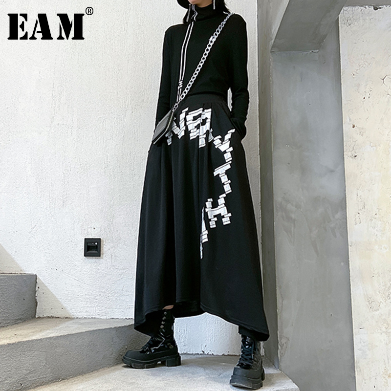 [EAM] High Elastic Waist Black Letter Printed Asymmetrical Half-body Skirt Women Fashion Tide New Spring Autumn 2020 1R679