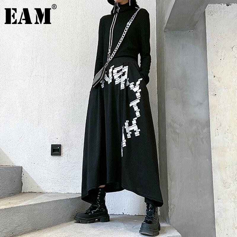 [EAM] High Elastic Waist Black Letter Printed Asymmetrical Half-body Skirt Women Fashion Tide New Spring Autumn 2020 1R679