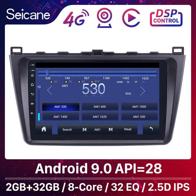 """Seicane 9 """"2din Android 9.0 araba radyo Wifi GPS navigasyon ünitesi oyuncu Mazda 6 Rui 2008 2009 2010 2011 2012 2013 2014 2015"""