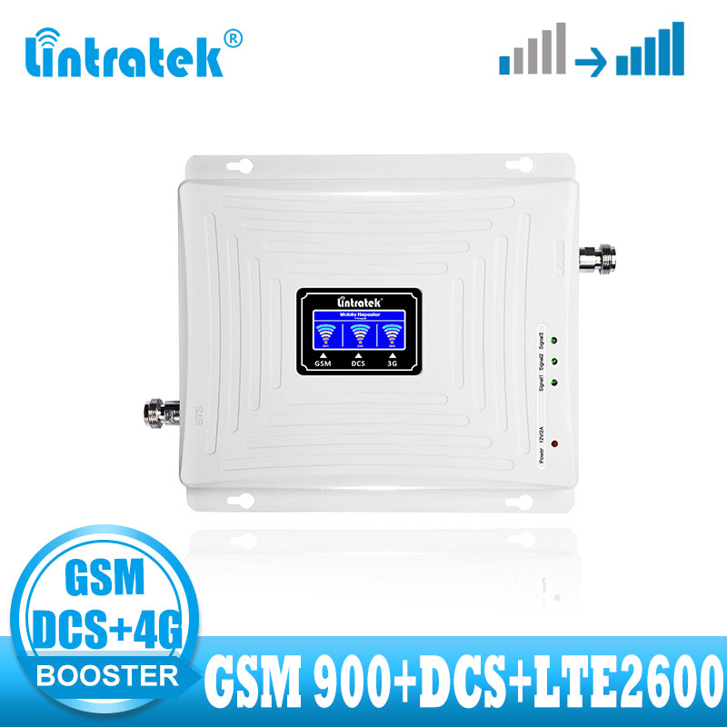 Lintratek LTE 2600 Tri Band 2G  4G Signal Booster GSM DCS 1800 Mobile 4G Internet Cellular Signal Booster Repeater  Amplifier
