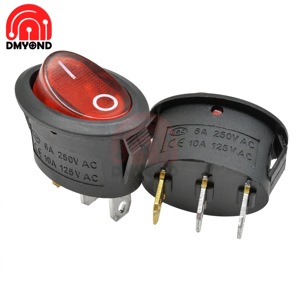 5PCS Oval Rocker Switch 6A 250V 10A 125V AC Toggle IO On Off Car Boat Power Switch 2Pin 3Pin 2 3 PIN Position LED Light in Switches from Lights Lighting