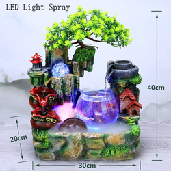 Fish tank Water Recycling Office Tabletop Ornaments Desktop Flowing Water Waterfall Fountain With Color Changing LED Light Spray