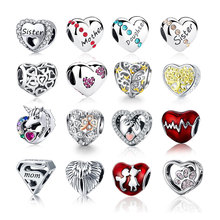 Ahthen 100% Real 925 Strerling Silver Heart Beads Fit Original Pandora Bracelets Love Heart Charms Beads Women DIY Jewelry charms beads 100