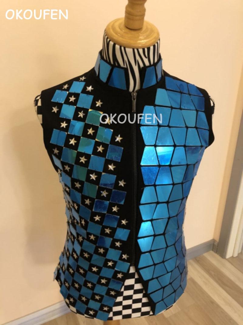 New Fashion Handmade Men's Blue Mirror Lens Vest Stars Printed Slim Jacket Nightclub Male DJ Singer Stage Show Performance Coat