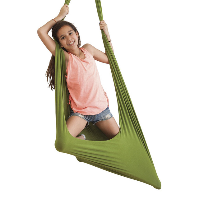 150*280CM Kids adult Cotton Outdoor Indoor Swing Hammock Cuddle Up To Sensory Child Therapy Soft Elastic Parcel Steady Swing 2