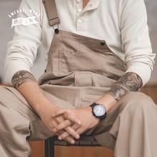 Maden Men Bib Pants Solid Color Casual Jumpsuits Streetwear Joggers Multi Pockets Fashion Suspenders Men Cargo Overalls
