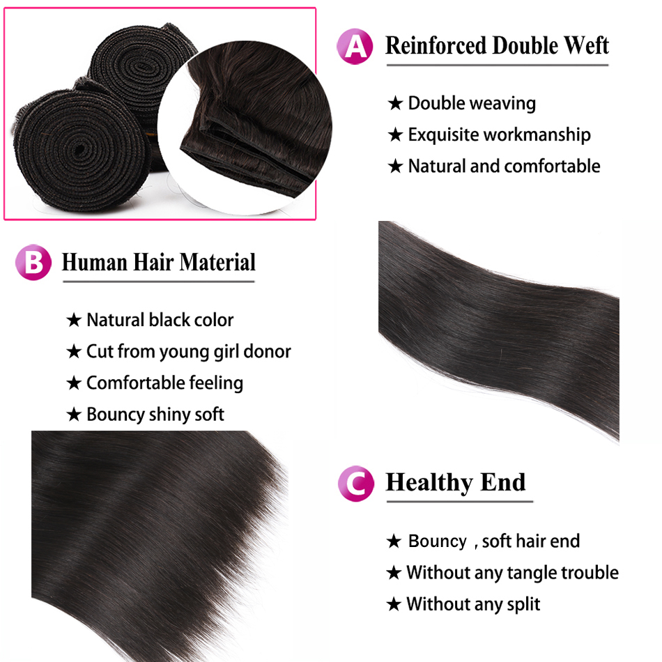 Straight Hair Transparent Lace 3 Bundles With Closure 6x6 4x4 Brazilian Remy Human Hair Weave Bundles Free Middle Three Part