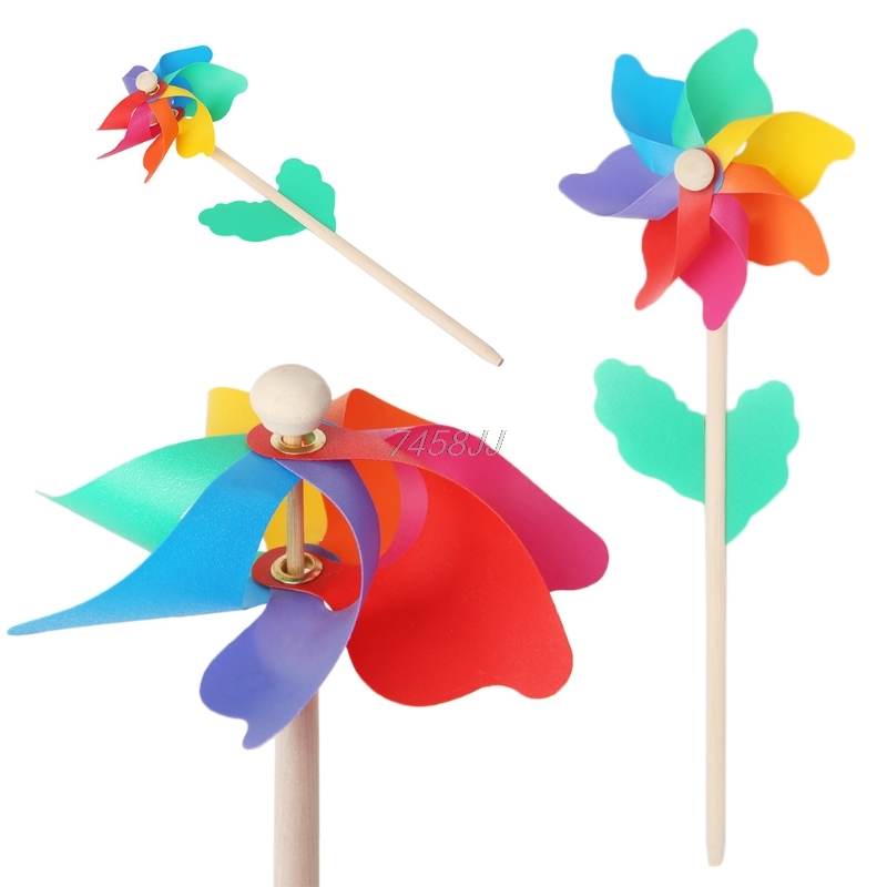 Wood Stick Windmill Kid Toys Lawn Yard Garden Ornaments Colorful Outdoor Spinner G06 Drop ship