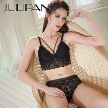 JIULIPAN Sexy Lace Triangle Cup Woman Summer Lingerie Bra Set with Chest Pad Sling Beauty Back Bikini