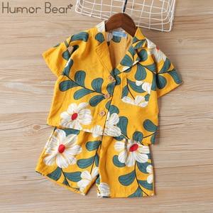 Humor Bear Summer Boys Clothing Sets Fashion Big Floral Beach Style Soft Kids Thin Breathable T-Shirt + Shorts 2Pcs Suits