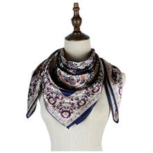 navy scarf mujer silk square scarf soft shawl head neck apparel accessories femme hijabs shawls paisley silk scarf 90cm print paisley print frayed trim scarf