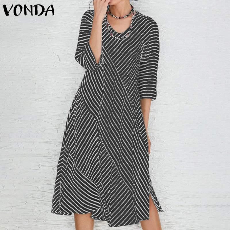 €9.47 29% СКИДКА|VONDA, женское платье, Femme, 2019, платья для вечеринок, хлопок, с разрезом, по колено, платье в богемном стиле, Vestidos размера плюс, модный осенний Сарафан|Платья| |  - AliExpress