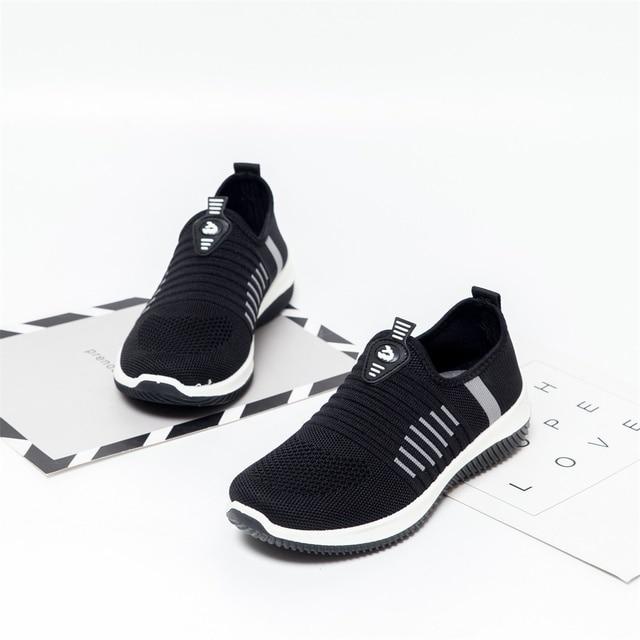 Mulher sapatos planos de malha mulher casual deslizamento em sapatos vulcanizados malha feminina macia respirável calçados femininos para senhoras sapatilha 3