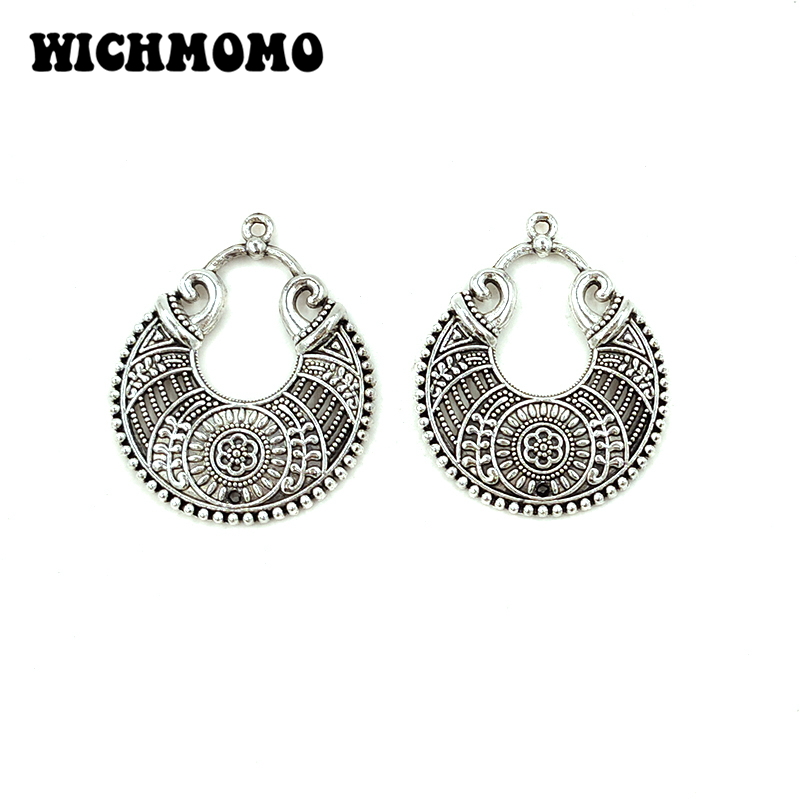 2020 New 5pieces/bag 34*28mm Zinc Alloy Round Water Drop Connector Charms Linker For DIY Earrings Necklace Jewelry Accessories