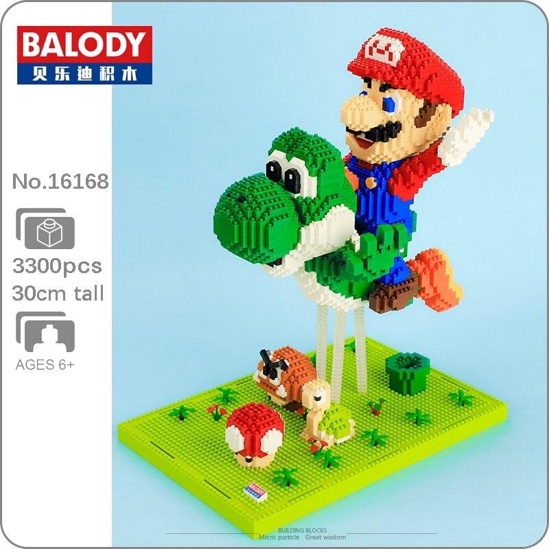 3D модель Balody Super Mario Fly Yoshi Goomba Koopa, «сделай сам», миниатюрные алмазные строительные блоки, кирпичи, развивающие игрушки для детей, подарок