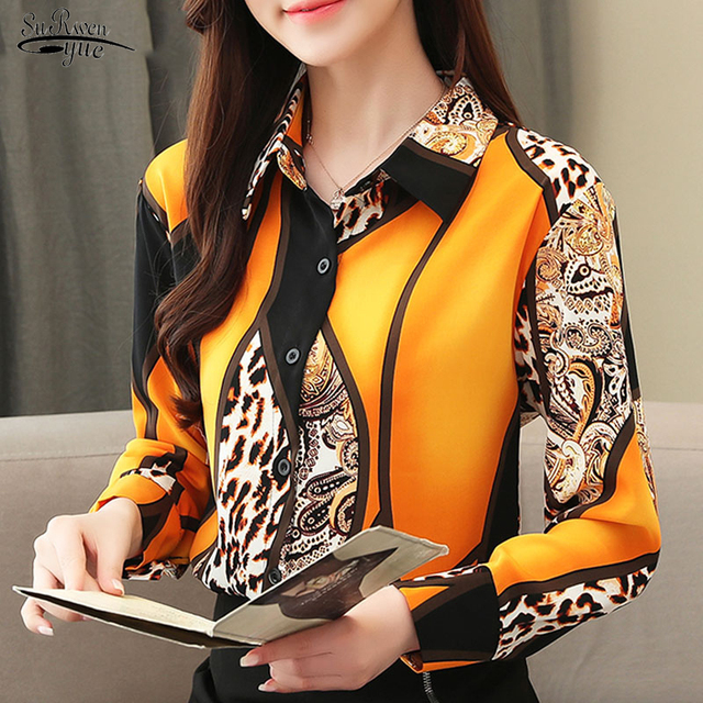 2021 Blouse Women Fashion Chiffon Shirts Women Office Lady Tops Spliced Leopard Blusas Femininas Shirts Leopard Button 8092 50 1