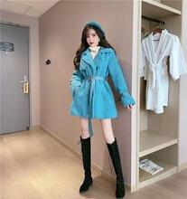 Модный и новый стиль двубортный пояс пальто из меха ягненка