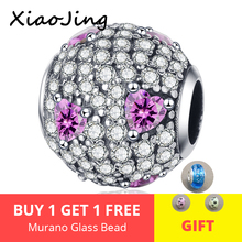 2019 New 100% 925 Sterling Silver Full Paved White&pink CZ Beads fit Pandora Charm Bracelet for Women DIY jewelry free shipping цена