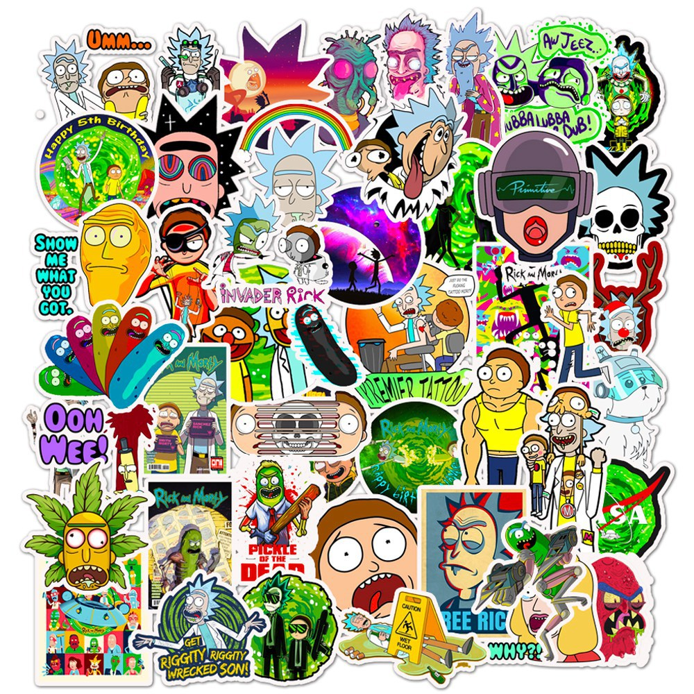 50pcs/set Rick And Morty Sticker Cosplay Prop Accessories PVC Waterproof Cartoon Anime Stickers For Guitar Suitcase Computer Dec
