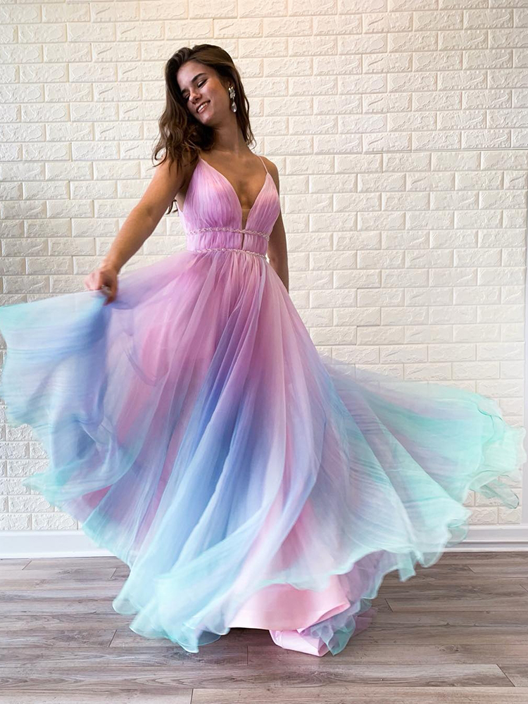 Textured Ombre 2020 Prom Dresses Organza Long Evening Dresses With Ruched Bodice Ball Gown Pageant Party Gowns