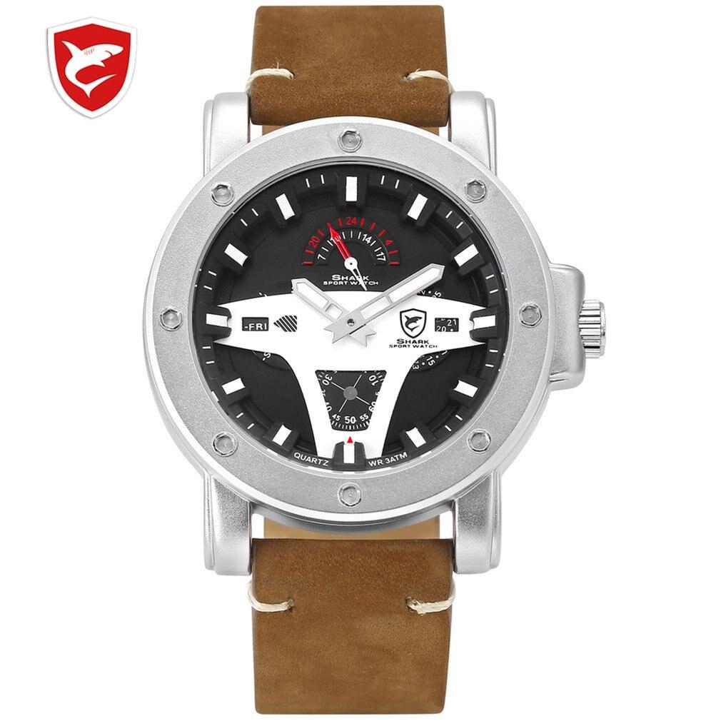 Reloj deportivo Greenland SHARK de 2 Series, marca creativa, fecha marrón, Caballo Loco, cuero, cuarzo, relojes para hombre, reloj Masculino/SH453