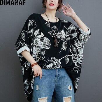 DIMANAF Summer Plus Size Women Blouse Shirt Vintage Lady Tops Tunic Print Floral Shirt Loose Casual Oversize Female Clothing цена 2017