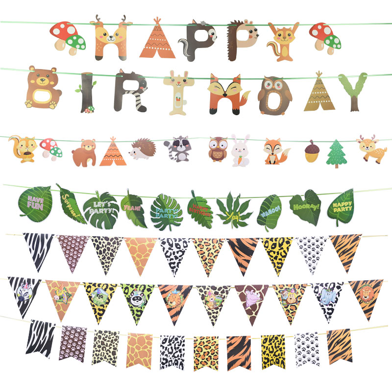 1 Set Jungle Animal Flags Banner Paper Happy Birthday Party Decoration Nursery Bunting Garland Animal Zoo Theme Party Supplies-0