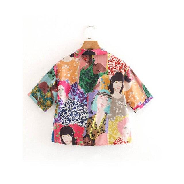 CS957 Summer Stylish Notched Neck Short Sleeve Character Print Blouse Colorful Shirts Blusas Women Clothing 2