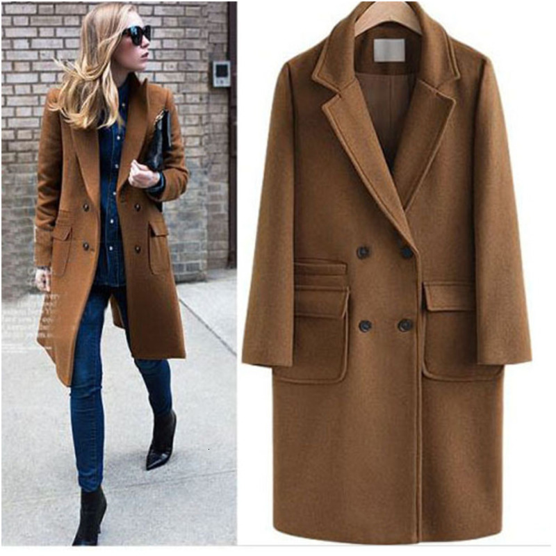 LANMREM Casual Full Sleeve Loose Solid Black Plus Size Long   Trench   Coat Slim Outwear Women Woolen Top 2019 Winter New AI948