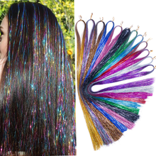 Hair Tinsel Bling Decoration Synthetic Hair Extension High light Glitter Rainbow For Girls And Party 120cm 300 Strands/piece(China)