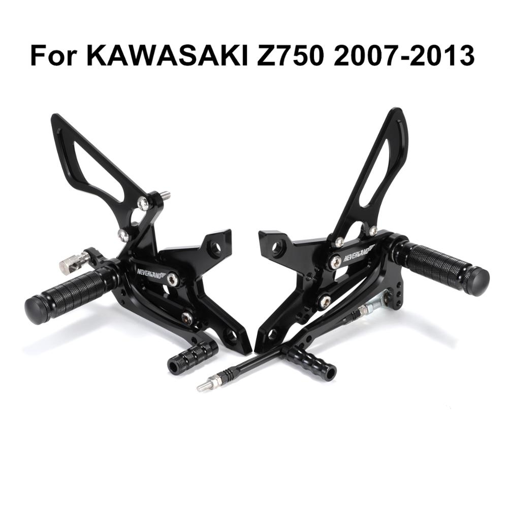 For KAWASAKI Z750 2007 2008 2009 2010 2011 2012 2013 Motorcycle CNC Adjustable Rider Rear Sets Rearset Footrest Foot Pegs D40