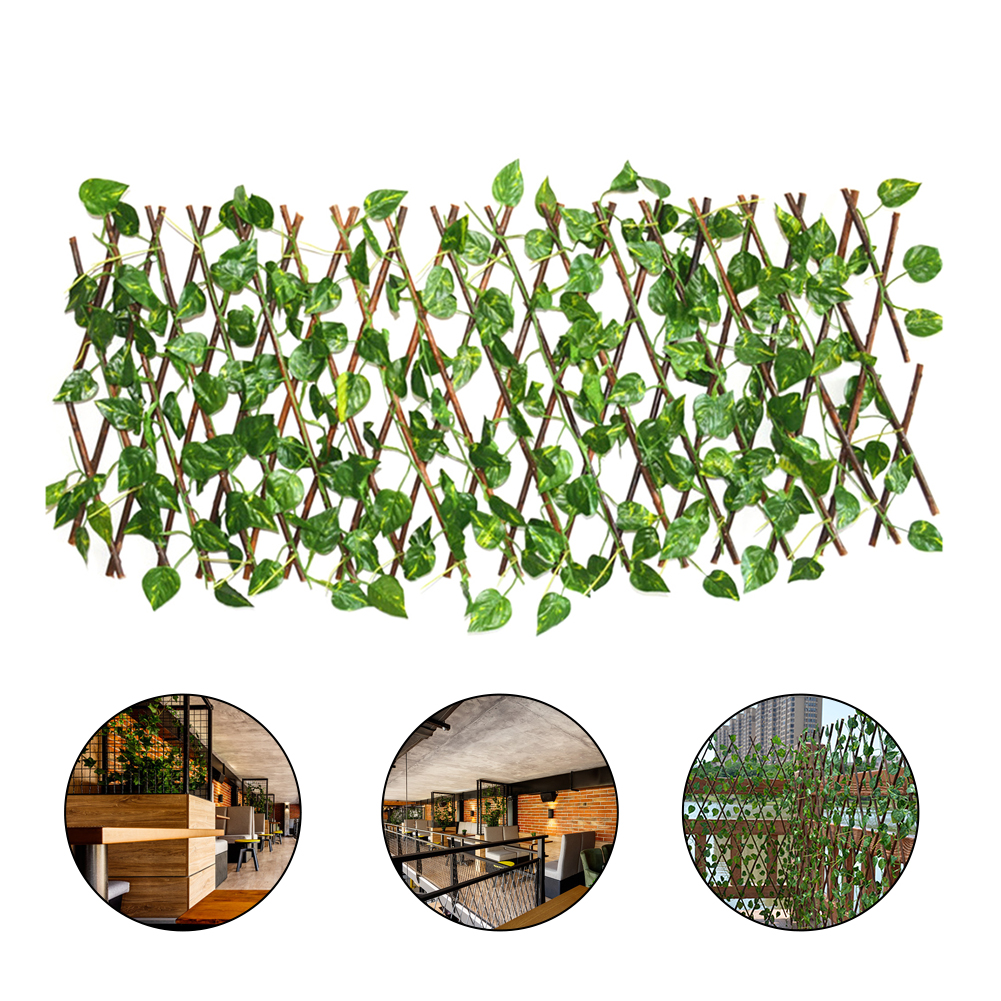 1pc 40cm Artificial Plant Telescopic Fence Home Garden Decoration Wooden Fence Balcony Fence Holiday Party Decoration Green Vine