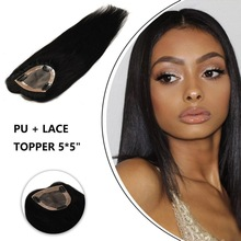 Topper-Piece Human-Hair-Wigs Lace Remy Natural-Color Women on MW for 16-3-Clips Straight-Machine