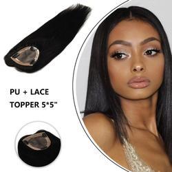 MW 3 Clips en la pieza superior del pelo 5*5 PU + máquina recta de encaje Remy pelucas de cabello humano 16 18 Peluca de Color Natural para mujeres