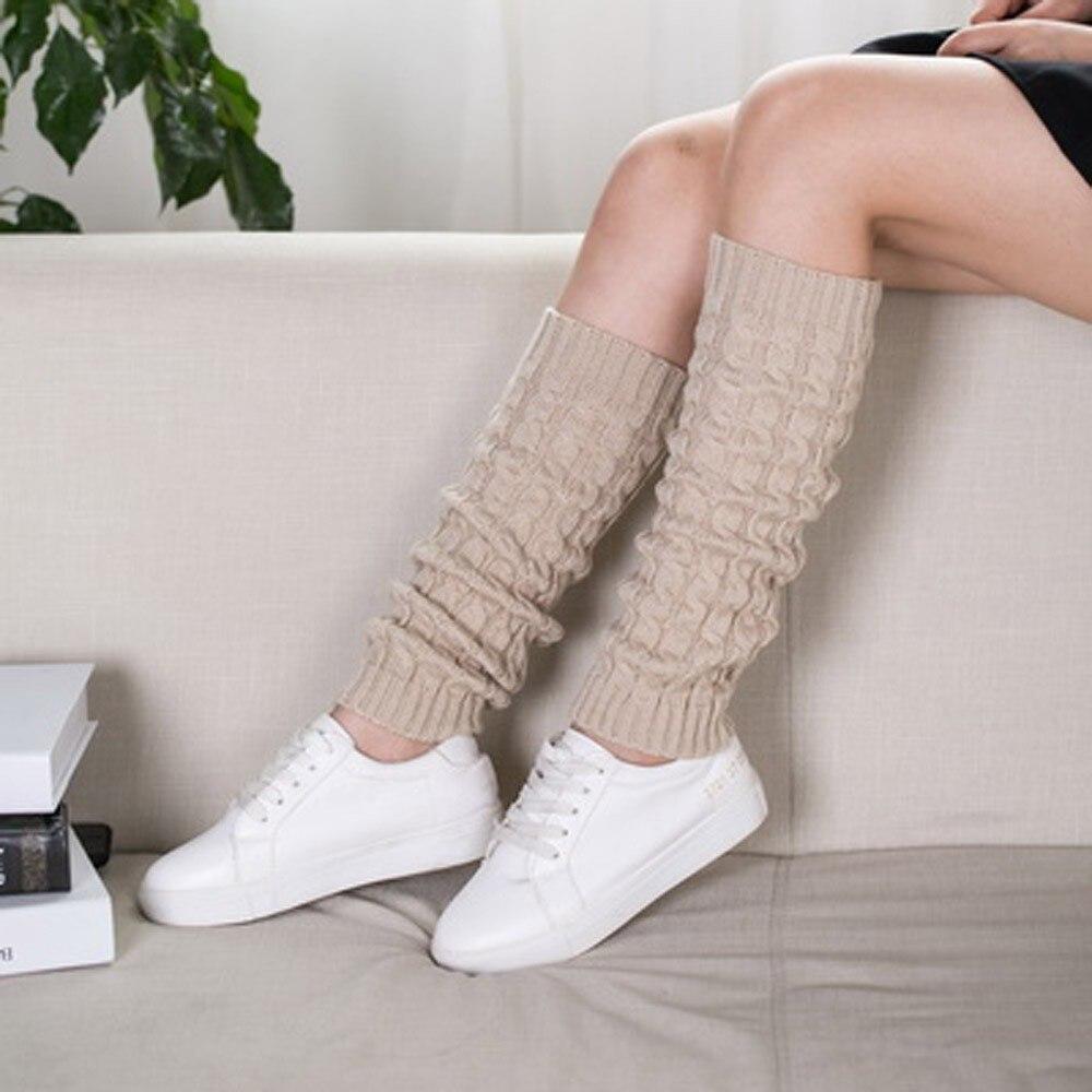 2020 Fashion Leg Warmers Women Warm Knee High Winter Knit Solid Crochet Leg Warmer Socks Warm Boot Cuffs Beenwarmers Long Socks