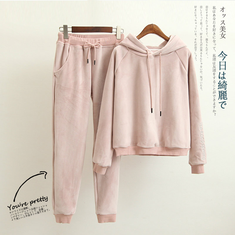 Tracksuit Women Two Piece Set Costumes Winter Female Sets 2020 Autumn Thick Warm Hooded Sweatershirts Conjunto B194-71438