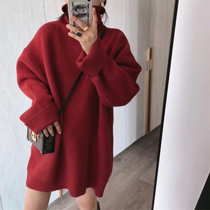 Nuevo suéter de invierno de cuello alto, jersey para mujer, Tops para niñas, prendas de punto de otoño Vintage para mujer, jerséis cálidos de gran tamaño