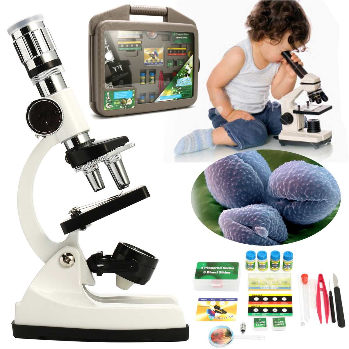 Children Advanced Biological Microscope Discovery Science Tools Set 50X-1200X Kids Home School Lab Learning Educational Toys Kit