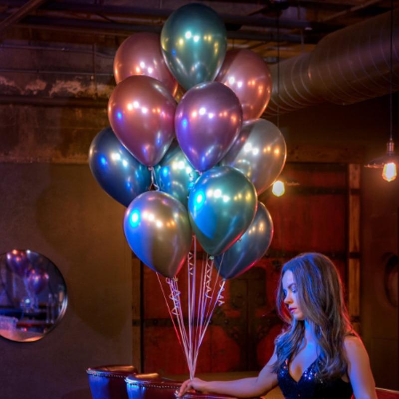 10 stücke 12 zoll Chrome Metallic Metall Latex Gold Silber Rosa Grün Lila Blau Luftballons Hochzeit Baby Dusche Geburtstag Party decor