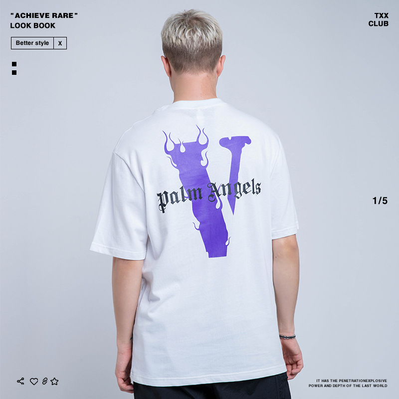 Vlone Life-Popular Brand Spring And Summer New Style MEN'S Wear Large V Printed Men's Casual Loose-Fit T-shirt