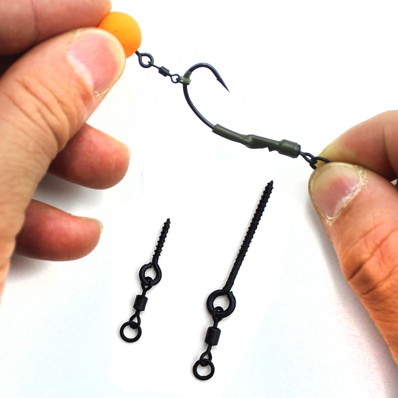 10pcs Carp Fishing Accessories 360° Bait Screw With Mirco Swivel For Ronnie Rigs Spinner Swivel For Snow Man Rigs