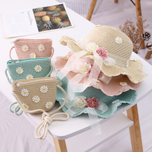 цена на 2020 New Parent-Child Straw Hat Two-Piece Set Of Stylish All-Matching Flower Beach Resort Straw Hat Hand-Woven Hat And Bag Set