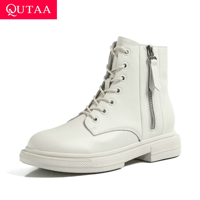 QUTAA 2021 Square Heel Cow Leather Ankle Boots Autumn Winter Round Toe Women Boots Lace Up Zipper Casual Women Shoes Size 34-40