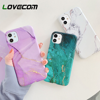 LOVECOM Vintage Gradual Color Marble Phone Case For iPhone 12 11 Pro Max XR XS Max 6 7 8 Plus X Matte Soft IMD Back Cover Coque