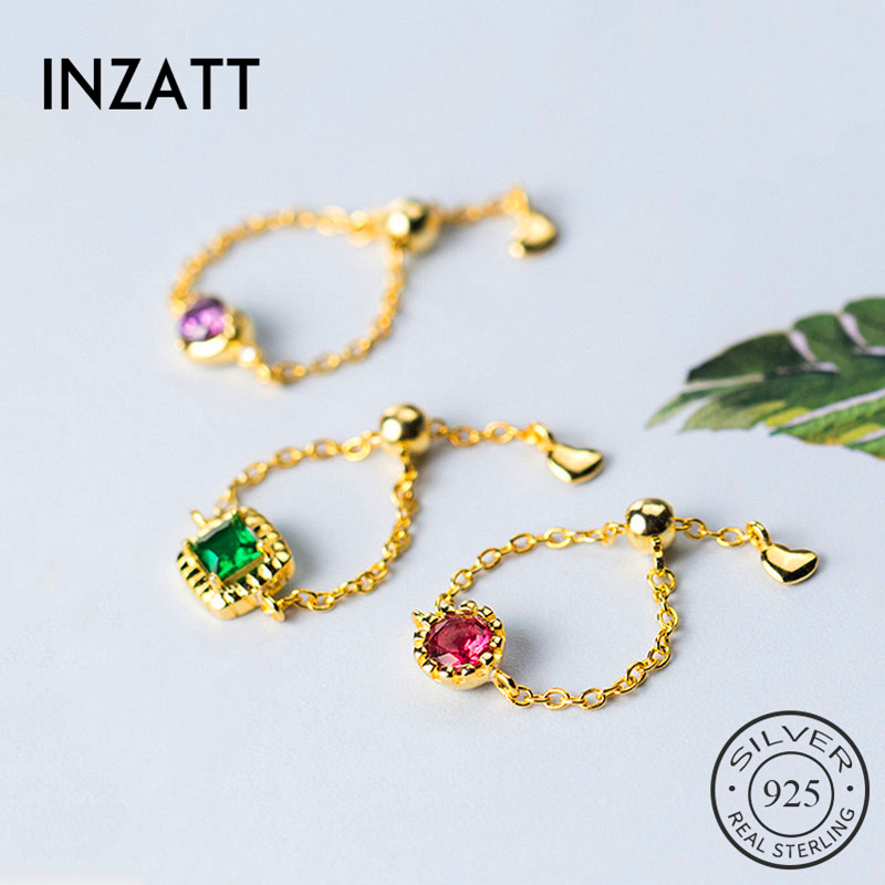 INZATT Real 925 Sterling Silver Chain Zircon adjustable Ring For Women Party Cute Fine Jewelry Minimalist Accessories 2019 Gift