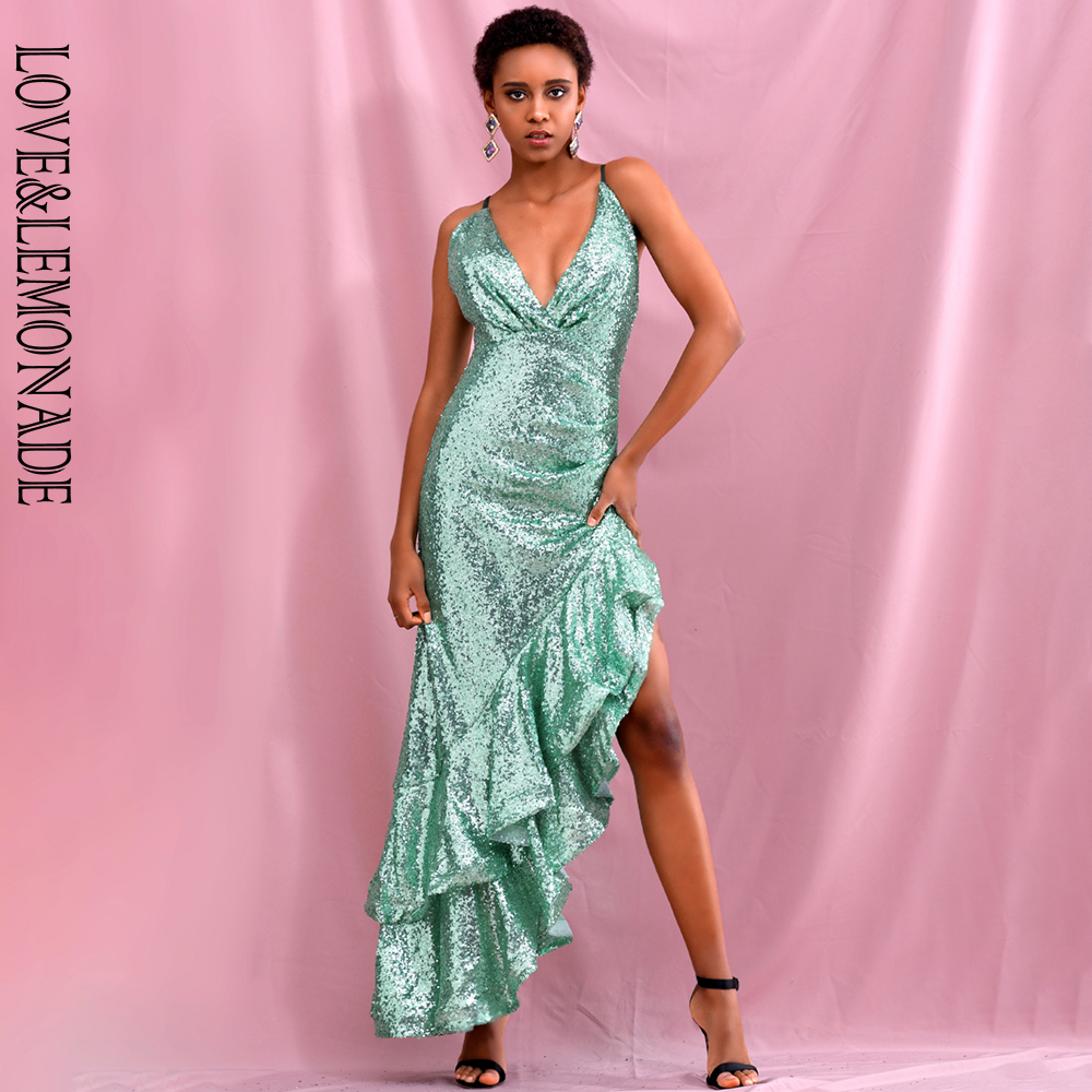 LOVE & LEMONADE Sexy V-Neck Big Lotus Leaf Stitching Light Green  Sequins Slim Fit Party Maxi Dress LM82318