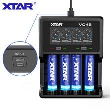 Xtar vc4s carregador de bateria display max 3a qc3.0 carregamento rápido para aaaa aaa 10440 32650 baterias recarregáveis carregador usb 18650