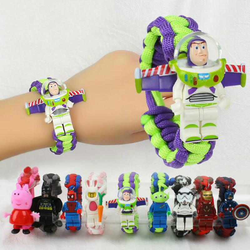 Toy Story Figure Toy Buzz Lightyear Woody Bracelet Avengers Iron Man Hulk Batman Block Toy Action Figure Children Christmas Gift