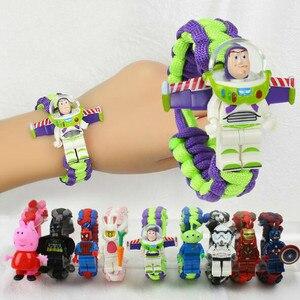 Toy Story Figure Toy Buzz Lightyear Woody Bracelet Avengers Iron Man Hulk Batman Block Toy Action Figure Children Christmas Gift(China)