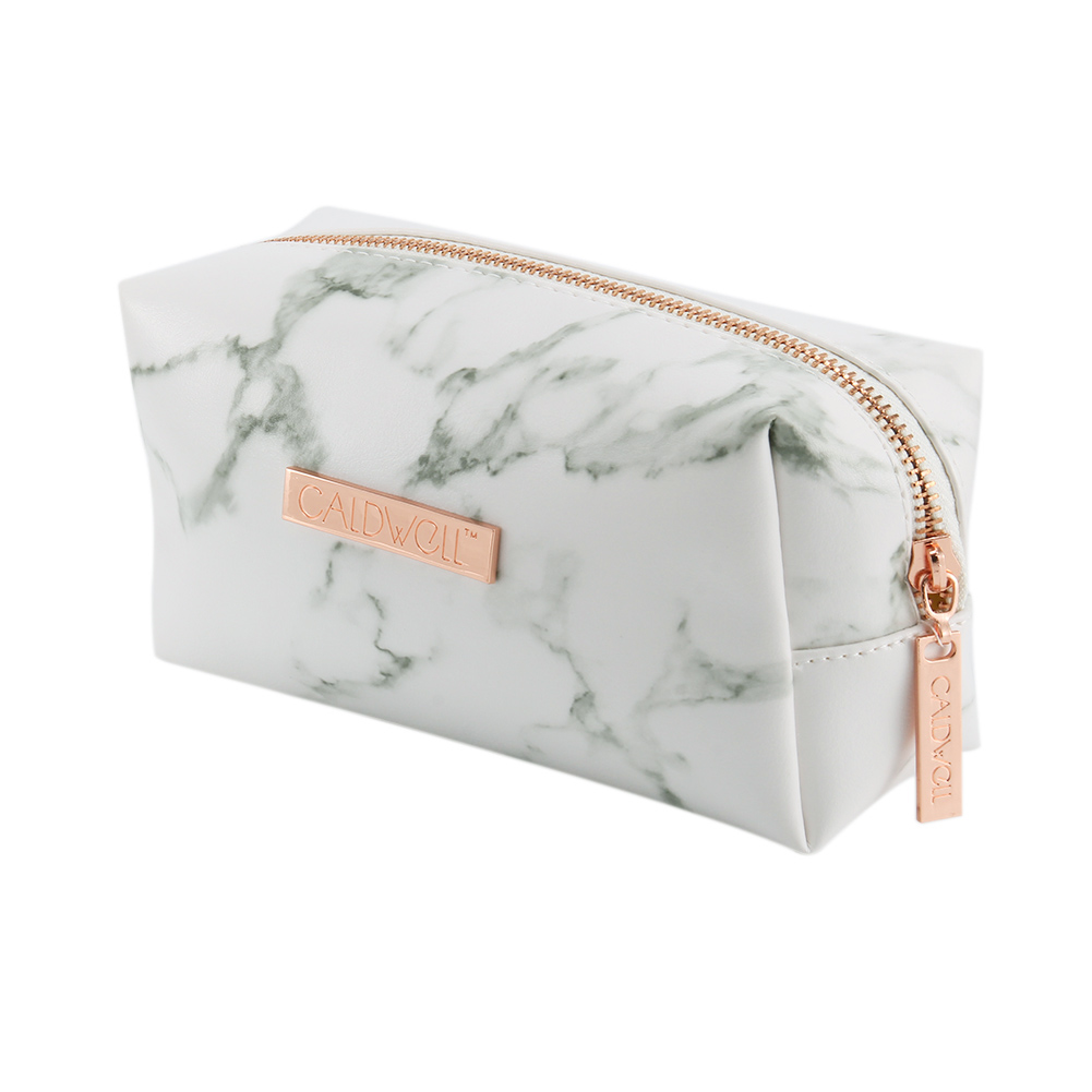 Ladies Makeup Cosmetic Bag Marble Pattern PU Leather Storage Brushes Pouch For Travel Outdoor -OPK